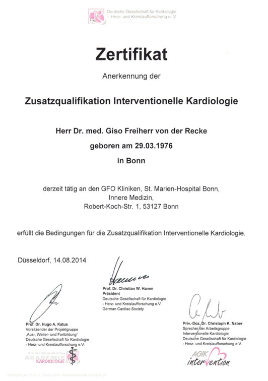 Zusatzqualifikation Interventionelle Kardiologie